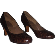 1940's Alligator Baby Doll Pumps – Size 5 1/2 B