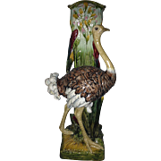 Ostrich Walking Stick Holder, Majolica 19th C