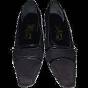 90's Ferragamo Black Suede Heels 7 1/2  2A