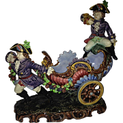 Hugo Lonitz Carriage & Footmen Majolica Centerpiece