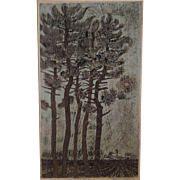"Billy Morrow Jackson ""Prairie Pines"" Color Woodcut Print"
