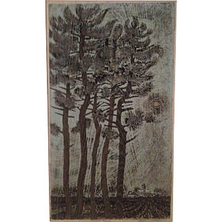 "Billy Morrow Jackson ""Prairie Pines"" Color Woodcut Print"