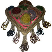 Victorian Iroquois Floral Décor Beaded Pillow