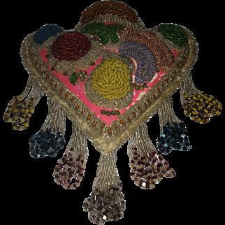 Victorian Iroquois Floral Décor Beaded Pillow