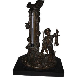 19th C. Bronze Black Forest Réaumur & Fahrenheit Scaled Desk Thermometer