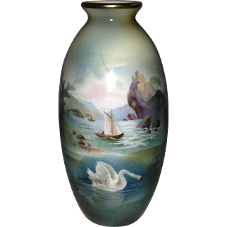 RS Prussia Souvenir Two-Scene Old Man in the Mountain with Swan Vase