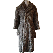1940's-50's Grey Lapin Mid-Calf Length Coat