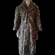 1940's-50's Grey Lapin Mid-Calf Length Coat