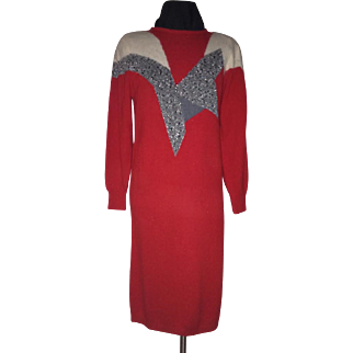 1970's Angenie Knit Dress with Geometrics