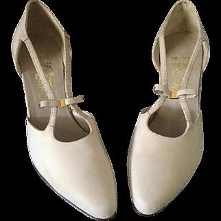 Vintage Ferragamo D'Orsey Nubuck Almond Toe Heels – 8 1/2
