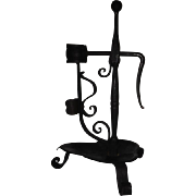Lt. 18th Ea 19th C. Swedish Wrought Iron Folk Art Candle – Rush Holder