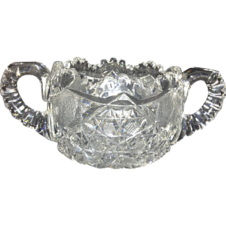 American Brilliant Cut Glass Sugar Bowl Signed Hoare