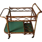 Hollywood Regency Rattan Bar Cart