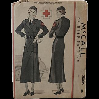 1935 Red Cross Motor Corps Uniform, McCall's Pattern (Unused)