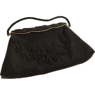 Vintage Raised Floral Décor Micro Bead French Evening Bag