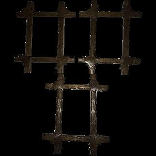 Matched Set of Three Victorian Walnut Carved Leaf Frames