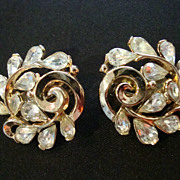 Trifari Rhinestone & Gold Tone Clip Earrings