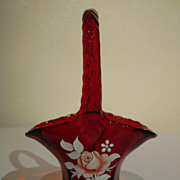 Ruby Red Westmoreland Glass Hand Decorated Basket