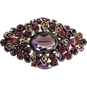 Vintage Rhinestone Pin Brooch Lavender and Fuchsia c1940's