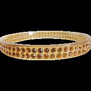 Celluloid Rhinestone Sparkle Bracelet Apple Juice Amber Stones c1920's