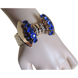 Reinad Sceptron Bracelet Art Deco Cobalt Blue Stones Gold Filled c1940's