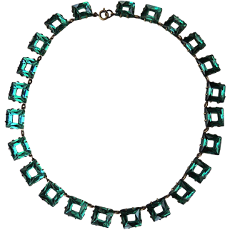 Czech Necklace Emerald Green Mirrored Glass Deco c1930's