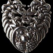 Cini Sterling Zodiac Gemini Pin Heart Shaped c1940's