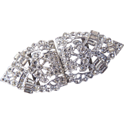 Rhinestone Belt Buckle Art Deco c1920's-30's
