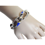 Rare Bracelet Sterling and Enamel Ottaviani Hand Crafted Signed c1970's