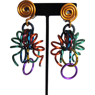 David Spada Anondized Aluminum Earrings Freedom Rings LGBT Gay Pride c1991