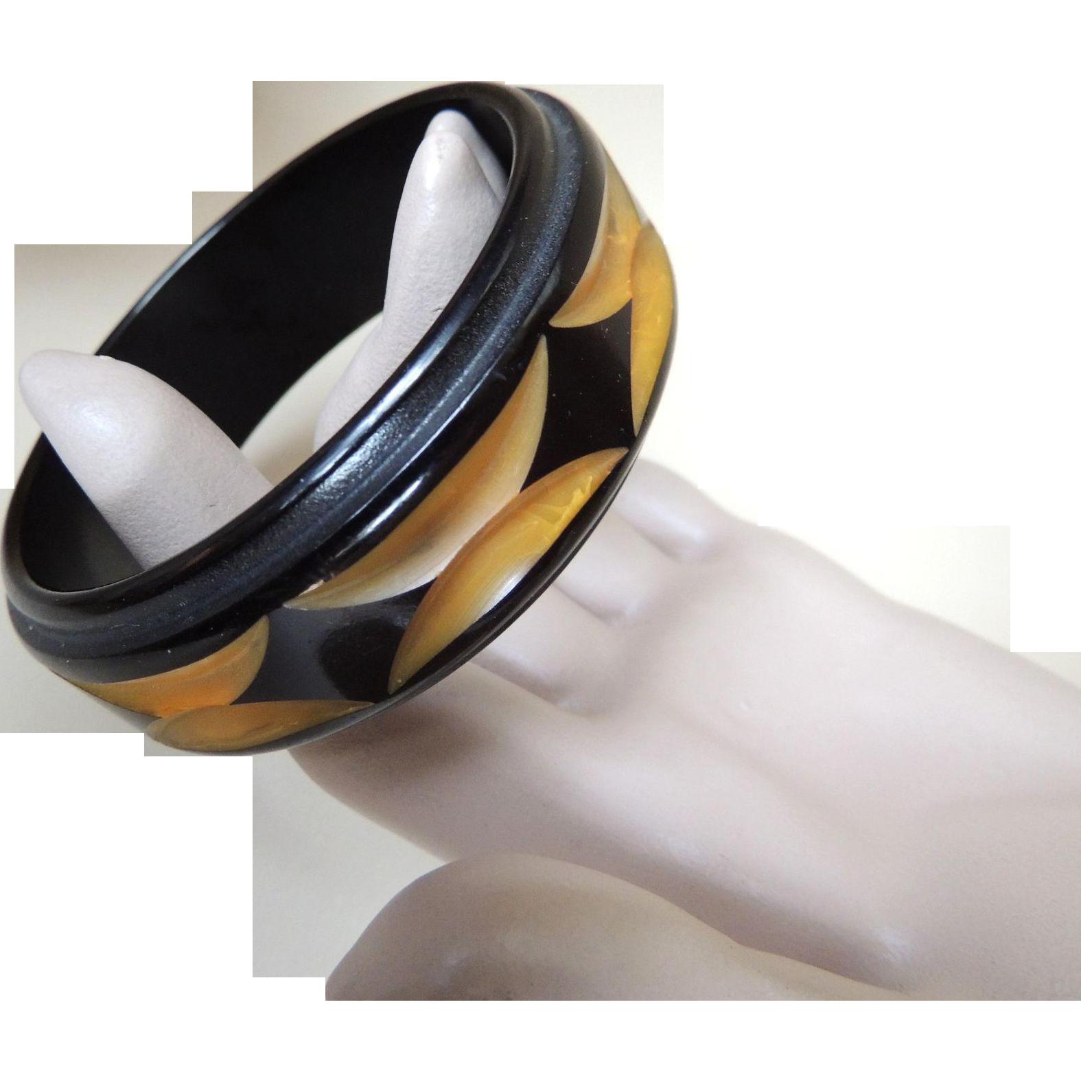 Bakelite Bracelet Carved Resin Washed Designer DVF c1970's