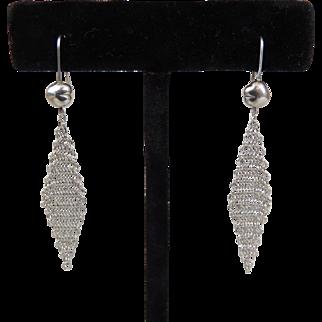 Tiffany Elsa Peretti Dangle Mesh Tassel Earrings Sterling c1981