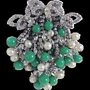 Huge Hattie Carnegie Rhinestone Pin Glass Beads & Faux Pearls c1950's
