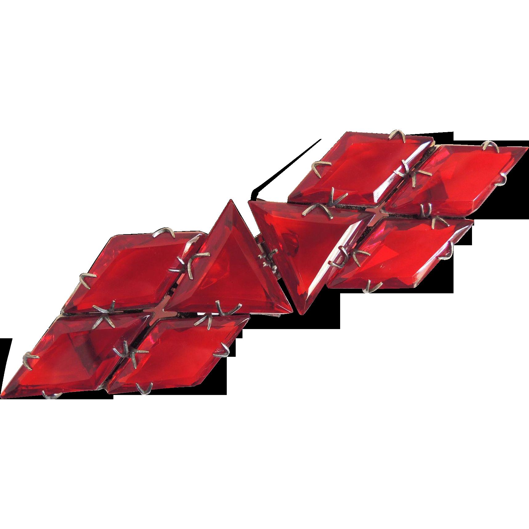Art Deco Belt Buckle Sparkling Red Glass c1920's/30's