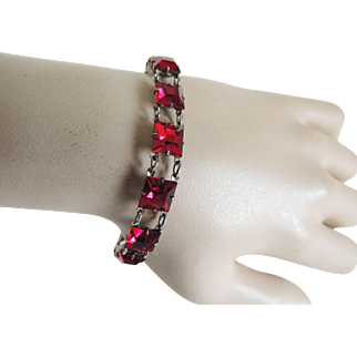 Red glass Bracelet Sterling Art Deco c1930's