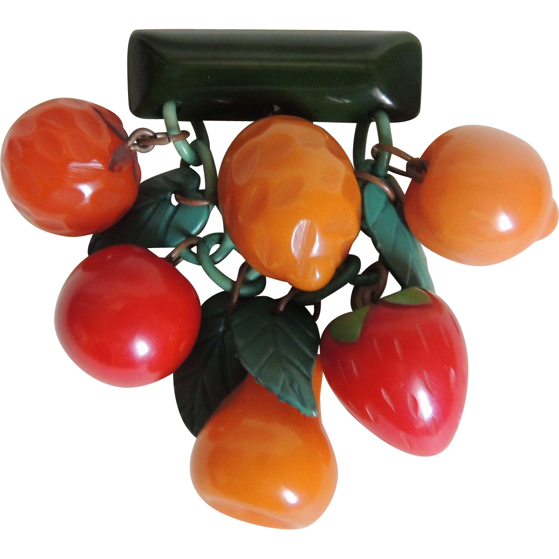 Bakelite Fruit Pin Brooch Dangly Carved c1940's