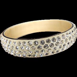 Celluloid Rhinestone Sparkle Bracelet Art Deco 4 Row c1930's