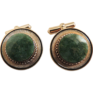 Cufflinks Christian Dior Green Jade Gold Filled c1980's