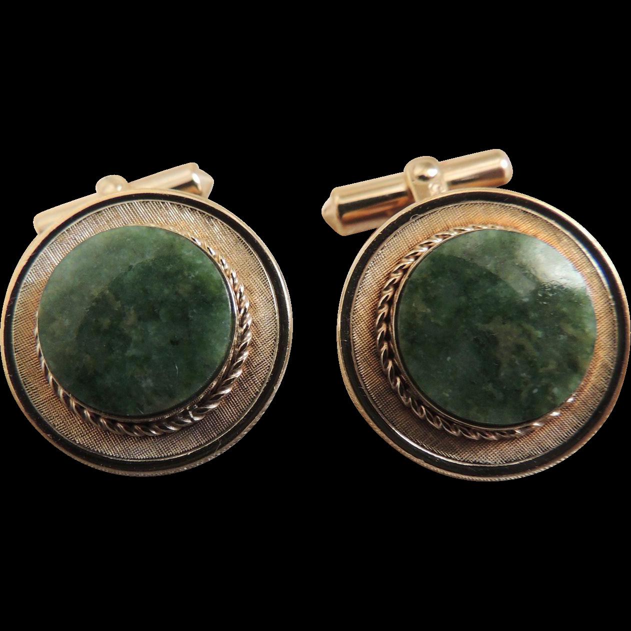 Cufflinks Christian Dior Green Jade Gold Filled c1980's