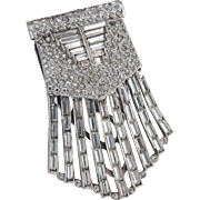 Rhinestone Dress Clip Art Deco Statement Size Unsigned c1930's
