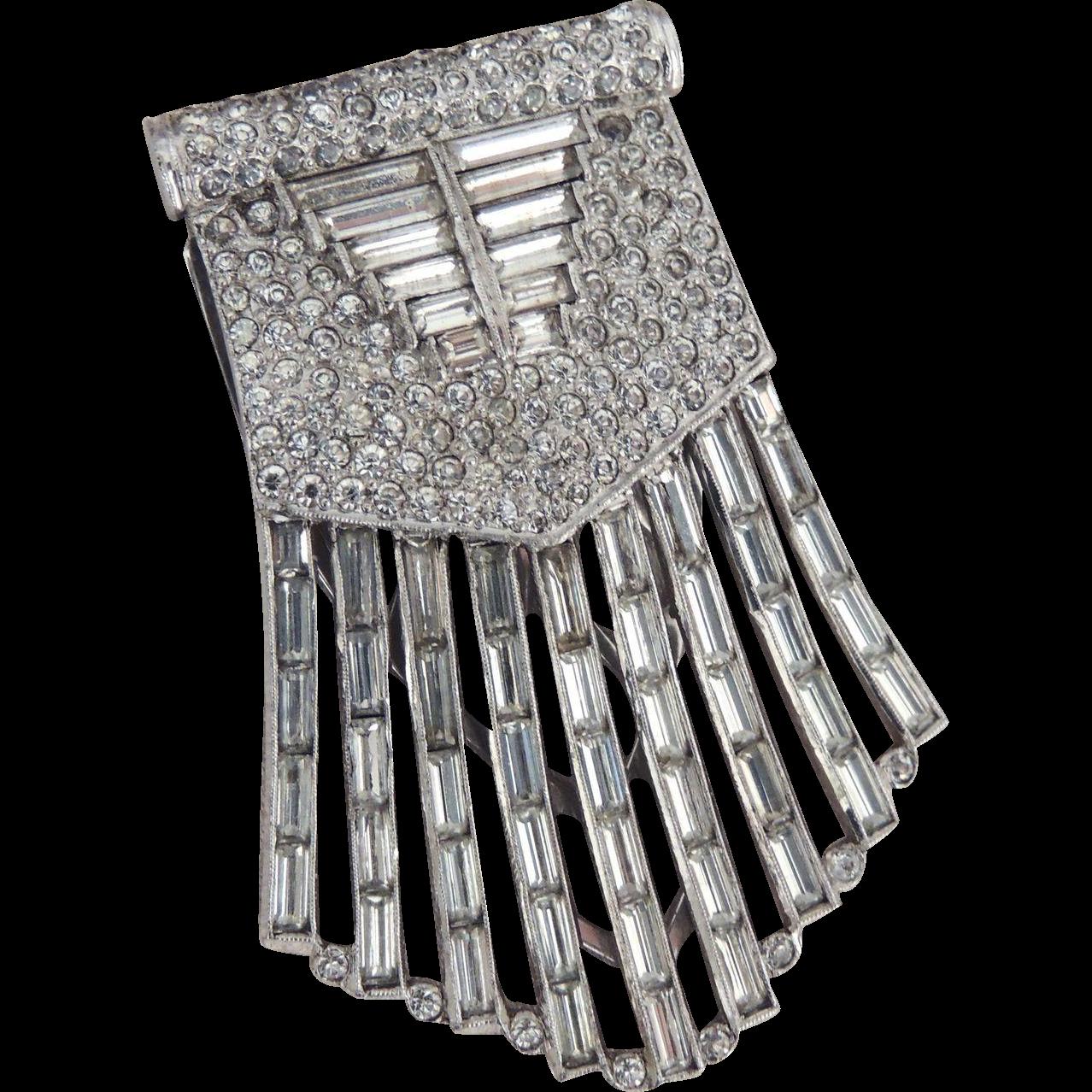 Rhinestone Dress Clip Art Deco Statement Size Unsigned c1930's
