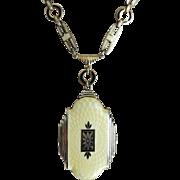 Guilloche Enamel Locket Art Deco Silver Tone Evans