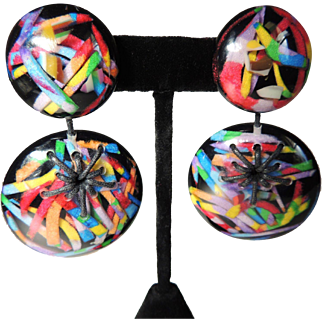 Carlos Sobral Earrings Early Large Colorful Signed c1980's