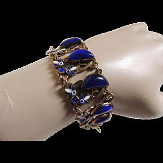 Enamel Czech Glass Art Deco Bracelet Max Neiger Style c1920's