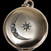 Art Deco Locket Gold Filled Half Moon Star c1930's