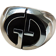 Gucci Sterling Men's Ring Logo Motif c1980's