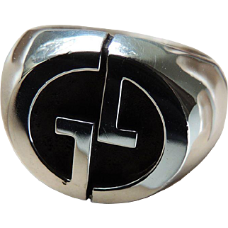 Gucci Sterling Men's Ring Logo Motif c1980's