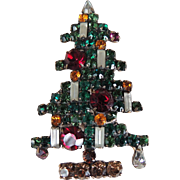 Weiss Rhinestone Six Light Christmas Tree Pin c1950's