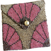 Beaded Purse Cut Steel Beaded Coin Case Art Deco French c1920's