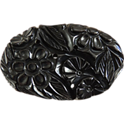 Bakelite Pin Carved Black Chunky Oval Reticulated Flowers